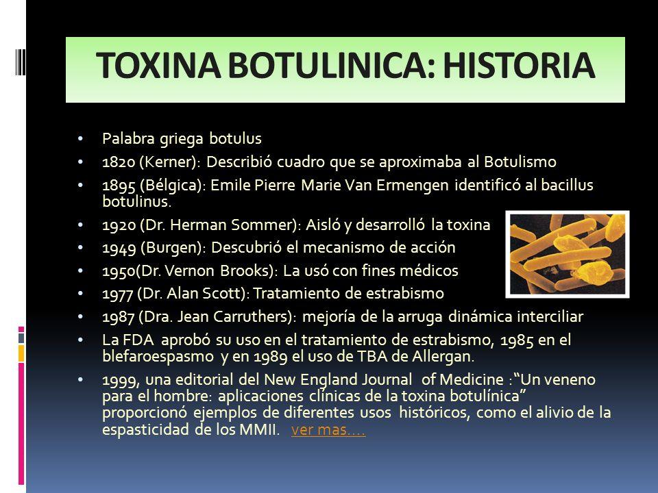 TOXINA BOTULINICA: HISTORIA Palabra griega botulus 1820 (Kerner): Describió cuadro que se aproximaba al Botulismo 1895 (Bélgica): Emile Pierre Marie V