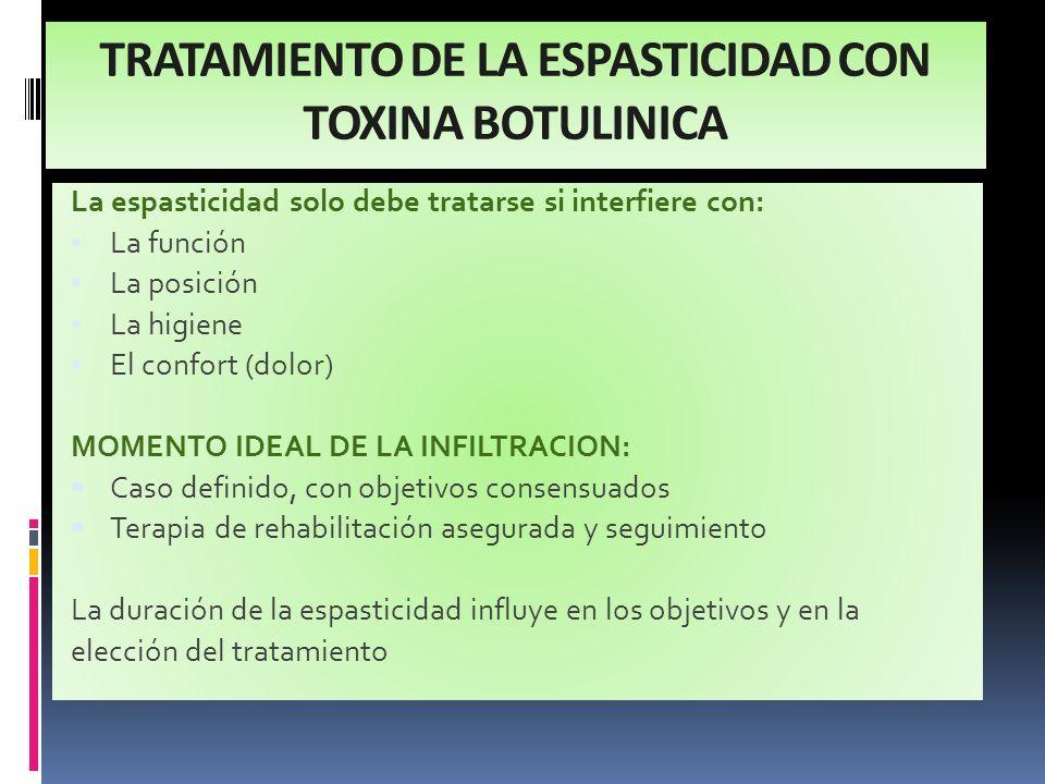 TRATAMIENTO DE LA ESPASTICIDAD CON TOXINA BOTULINICA La espasticidad solo debe tratarse si interfiere con: La función La posición La higiene El confor