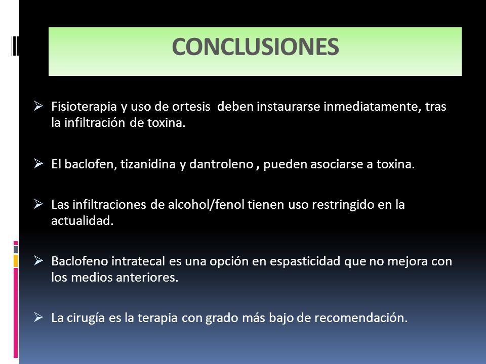 CONCLUSIONES Fisioterapia y uso de ortesis deben instaurarse inmediatamente, tras la infiltración de toxina. El baclofen, tizanidina y dantroleno, pue