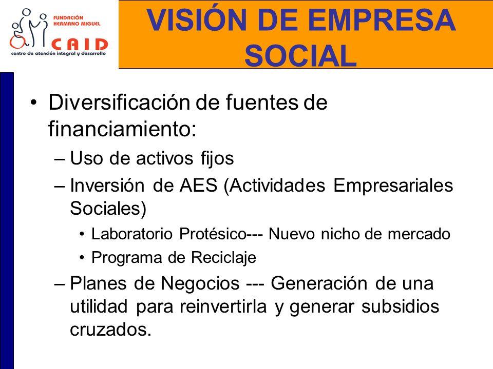 VISIÓN DE EMPRESA SOCIAL Diversificación de fuentes de financiamiento: –Uso de activos fijos –Inversión de AES (Actividades Empresariales Sociales) La