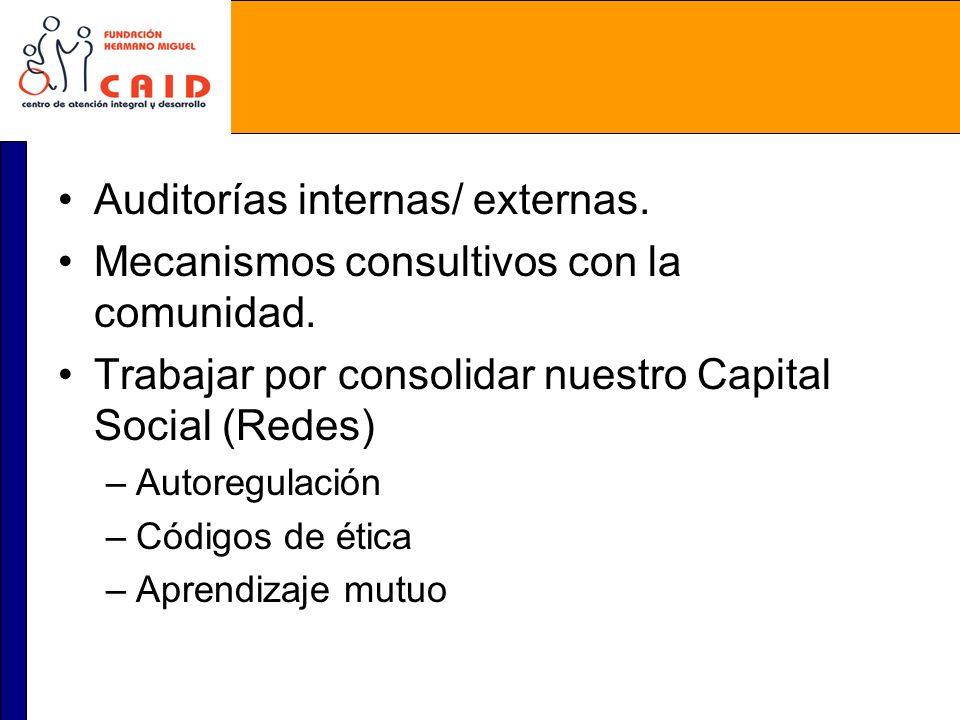 Auditorías internas/ externas. Mecanismos consultivos con la comunidad. Trabajar por consolidar nuestro Capital Social (Redes) –Autoregulación –Código