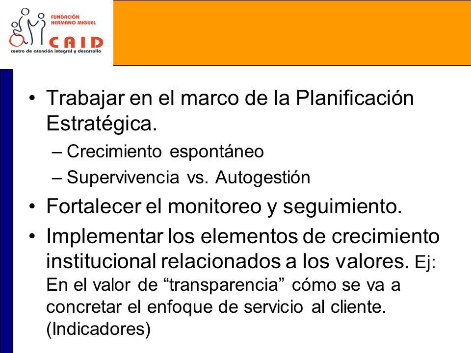 Trabajar en el marco de la Planificación Estratégica. –Crecimiento espontáneo –Supervivencia vs. Autogestión Fortalecer el monitoreo y seguimiento. Im