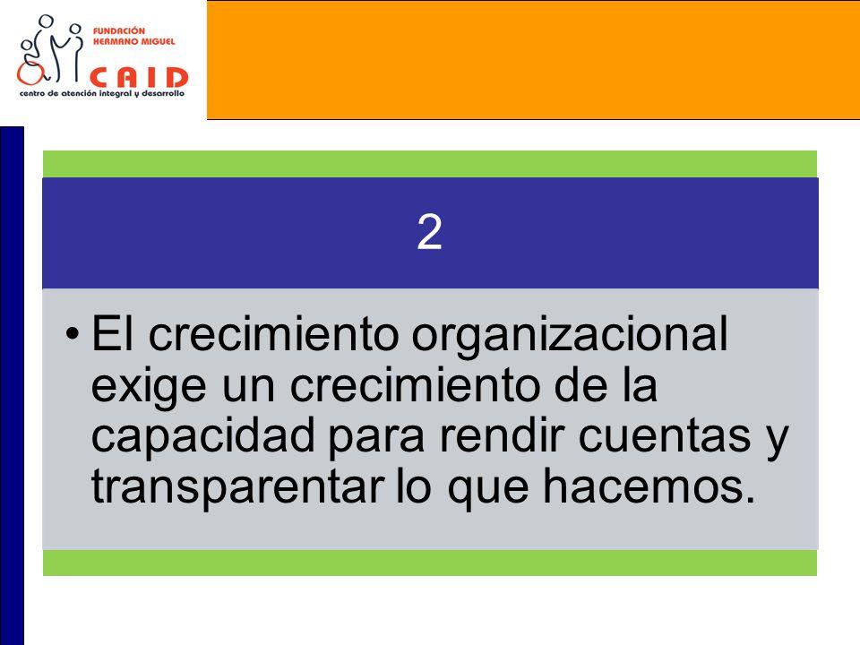 2 El crecimiento organizacional exige un crecimiento de la capacidad para rendir cuentas y transparentar lo que hacemos.