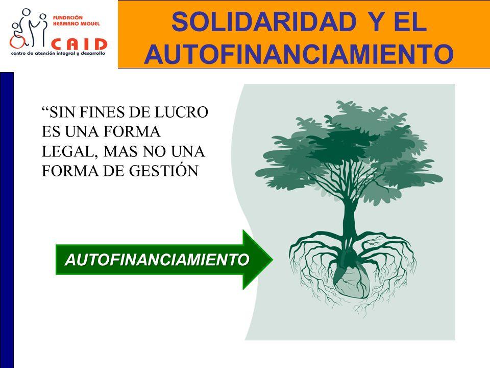 SOLIDARIDAD Y EL AUTOFINANCIAMIENTO AUTOFINANCIAMIENTO SIN FINES DE LUCRO ES UNA FORMA LEGAL, MAS NO UNA FORMA DE GESTIÓN
