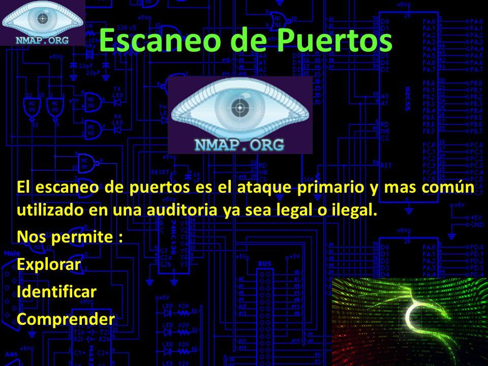 Escaneo de Puertos El escaneo de puertos es el ataque primario y mas común utilizado en una auditoria ya sea legal o ilegal. Nos permite : Explorar Id