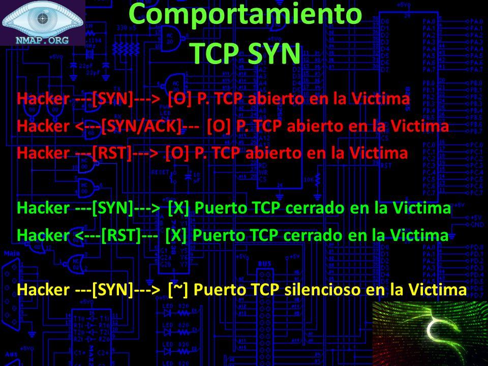 Comportamiento TCP SYN Hacker ---[SYN]---> [O] P. TCP abierto en la Victima Hacker <---[SYN/ACK]--- [O] P. TCP abierto en la Victima Hacker ---[RST]--