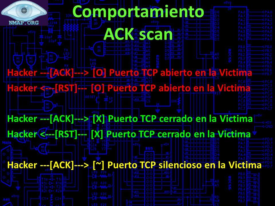 Comportamiento ACK scan Hacker ---[ACK]---> [O] Puerto TCP abierto en la Victima Hacker <---[RST]--- [O] Puerto TCP abierto en la Victima Hacker ---[ACK]---> [X] Puerto TCP cerrado en la Victima Hacker <---[RST]--- [X] Puerto TCP cerrado en la Victima Hacker ---[ACK]---> [~] Puerto TCP silencioso en la Victima