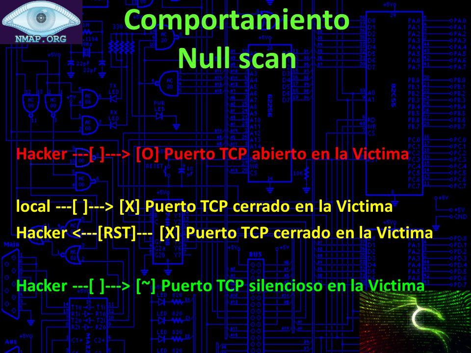 Comportamiento Null scan Hacker ---[ ]---> [O] Puerto TCP abierto en la Victima local ---[ ]---> [X] Puerto TCP cerrado en la Victima Hacker <---[RST]