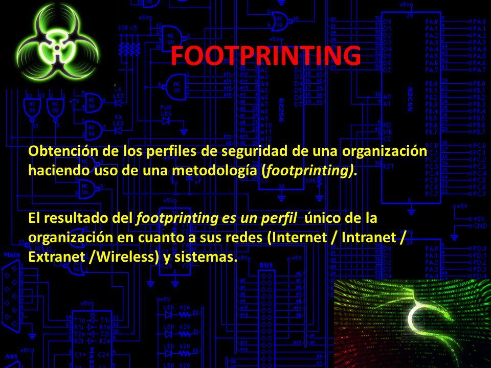 FOOTPRINTING Obtención de los perfiles de seguridad de una organización haciendo uso de una metodología (footprinting). El resultado del footprinting