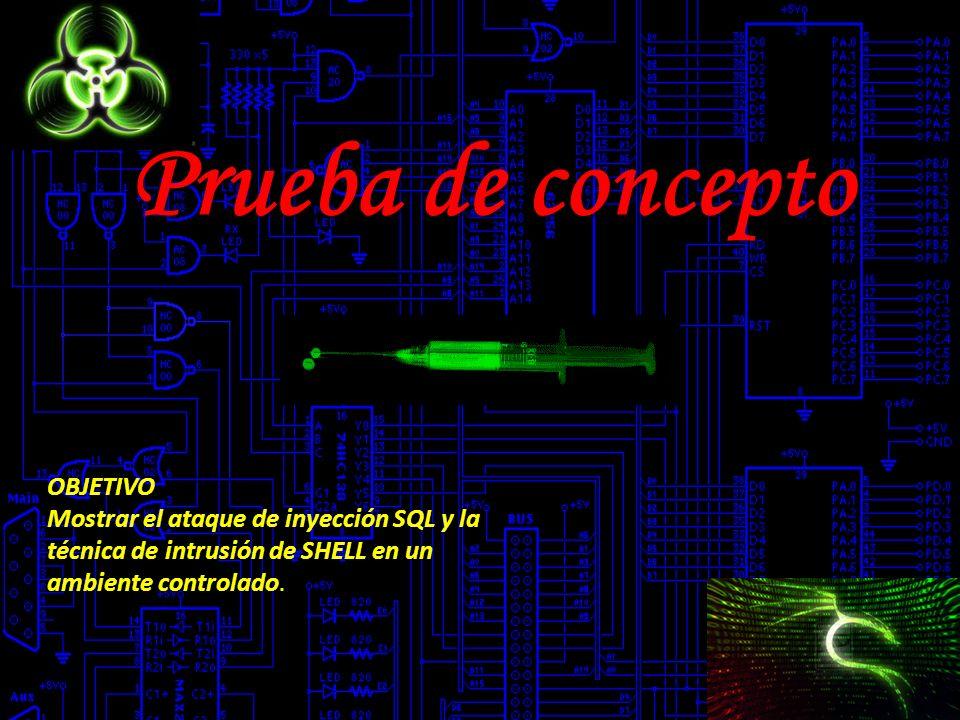 Prueba de concepto OBJETIVO Mostrar el ataque de inyección SQL y la técnica de intrusión de SHELL en un ambiente controlado.
