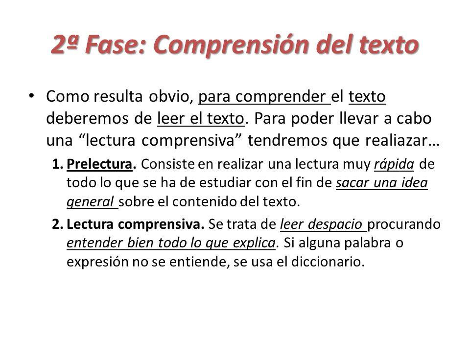 2ª Fase: Comprensión del texto Como resulta obvio, para comprender el texto deberemos de leer el texto. Para poder llevar a cabo una lectura comprensi