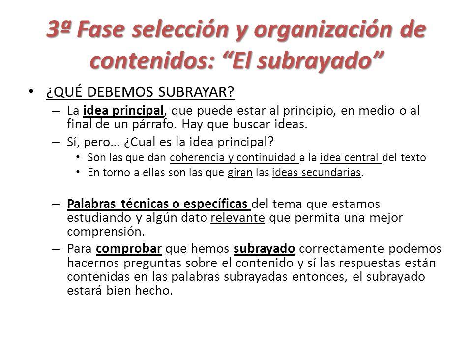 3ª Fase selección y organización de contenidos: El subrayado ¿QUÉ DEBEMOS SUBRAYAR? – La idea principal, que puede estar al principio, en medio o al f