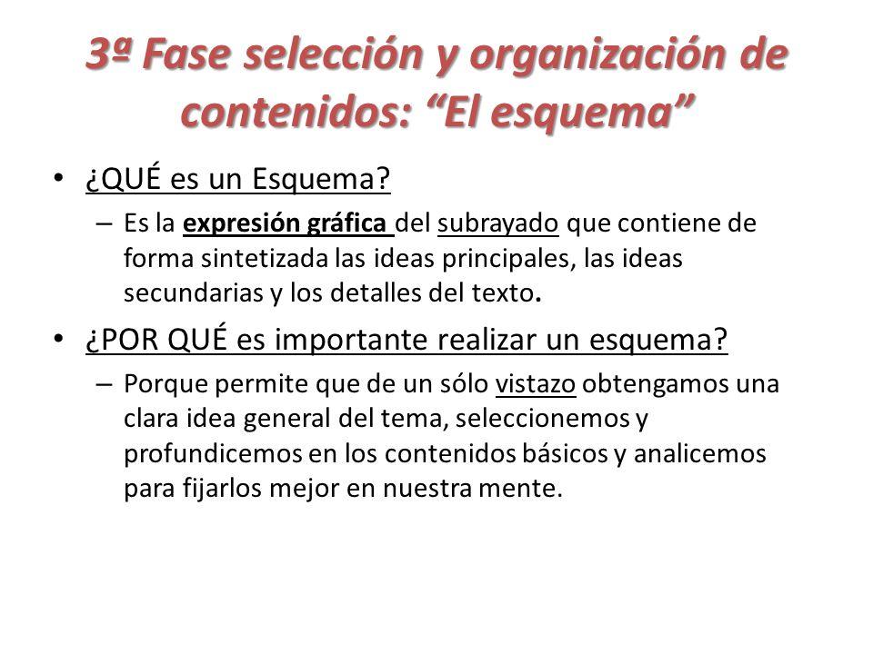 3ª Fase selección y organización de contenidos: El esquema ¿QUÉ es un Esquema? – Es la expresión gráfica del subrayado que contiene de forma sintetiza