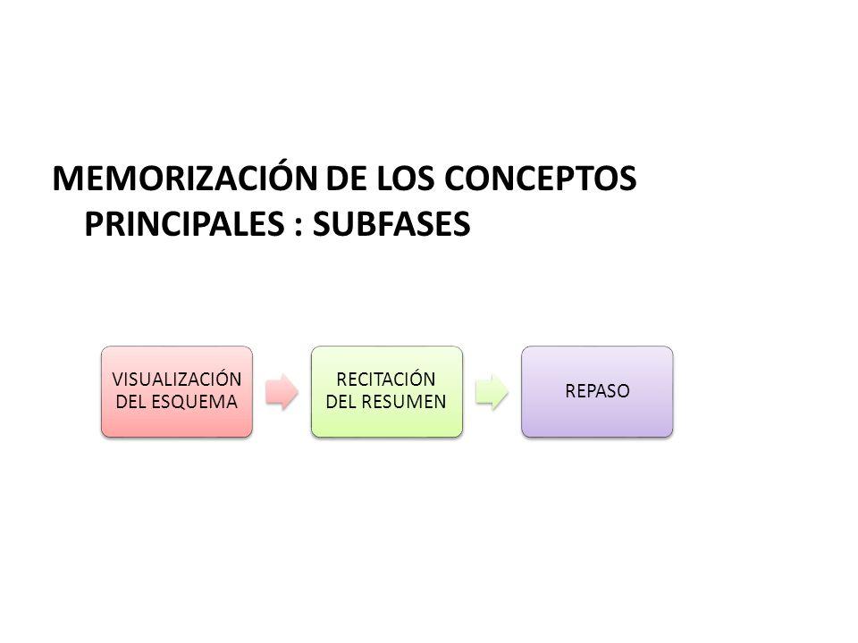 MEMORIZACIÓN DE LOS CONCEPTOS PRINCIPALES : SUBFASES VISUALIZACIÓN DEL ESQUEMA RECITACIÓN DEL RESUMEN REPASO