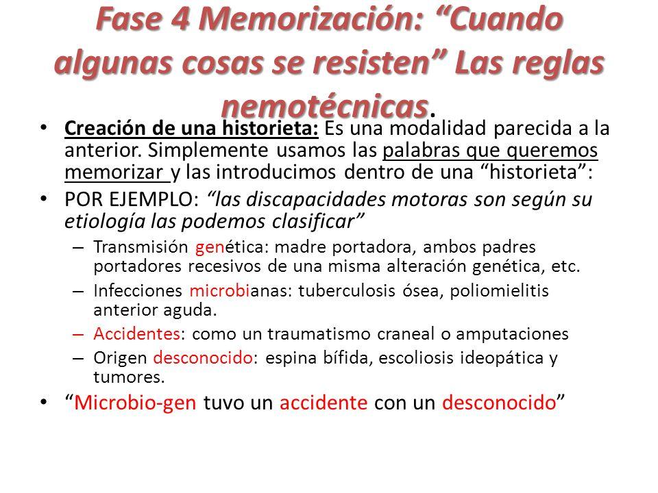 Fase 4 Memorización: Cuando algunas cosas se resisten Las reglas nemotécnicas Fase 4 Memorización: Cuando algunas cosas se resisten Las reglas nemotéc