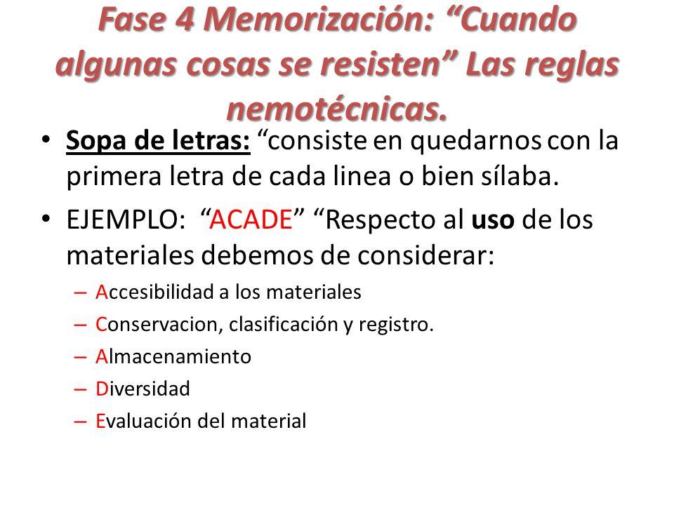 Fase 4 Memorización: Cuando algunas cosas se resisten Las reglas nemotécnicas. Sopa de letras: consiste en quedarnos con la primera letra de cada line