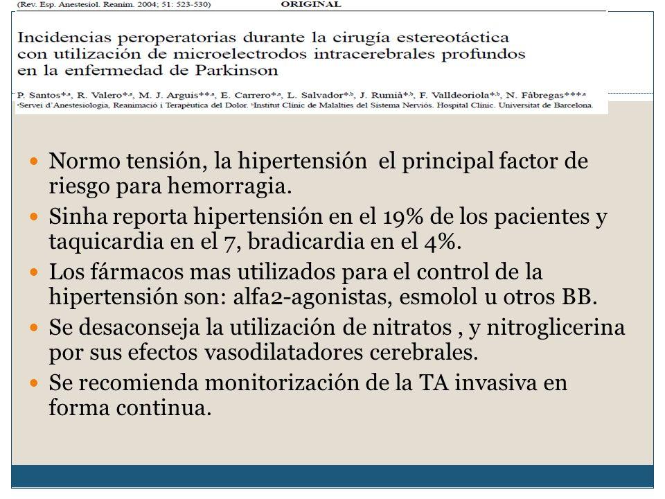 Manejo hemodinámico.Normo tensión, la hipertensión el principal factor de riesgo para hemorragia.