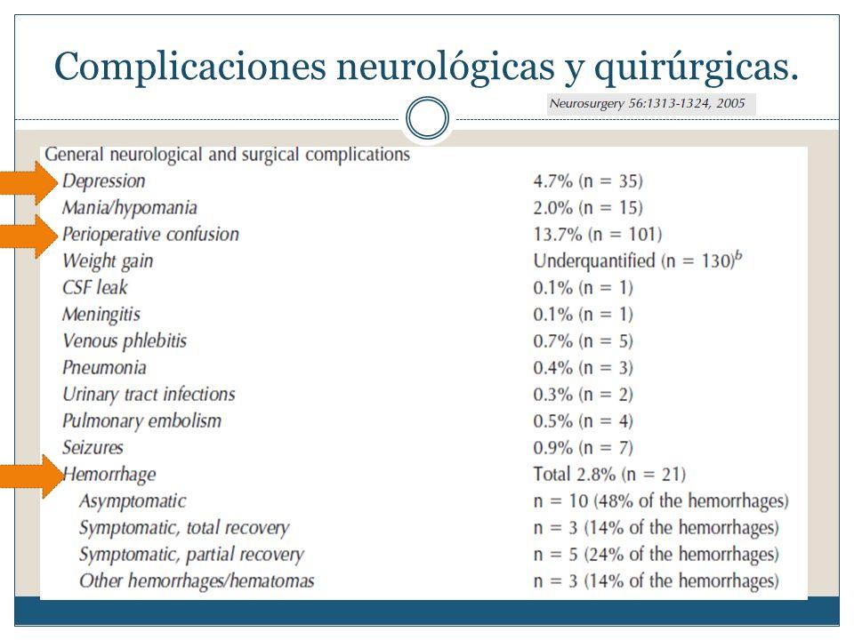 Complicaciones neurológicas y quirúrgicas.
