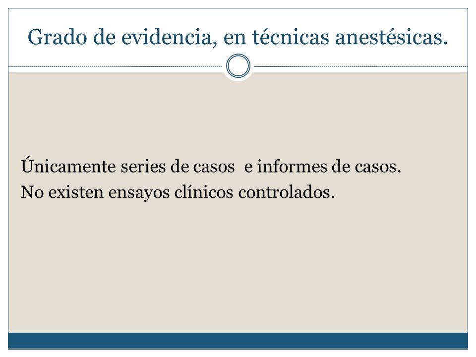 Grado de evidencia, en técnicas anestésicas.Únicamente series de casos e informes de casos.
