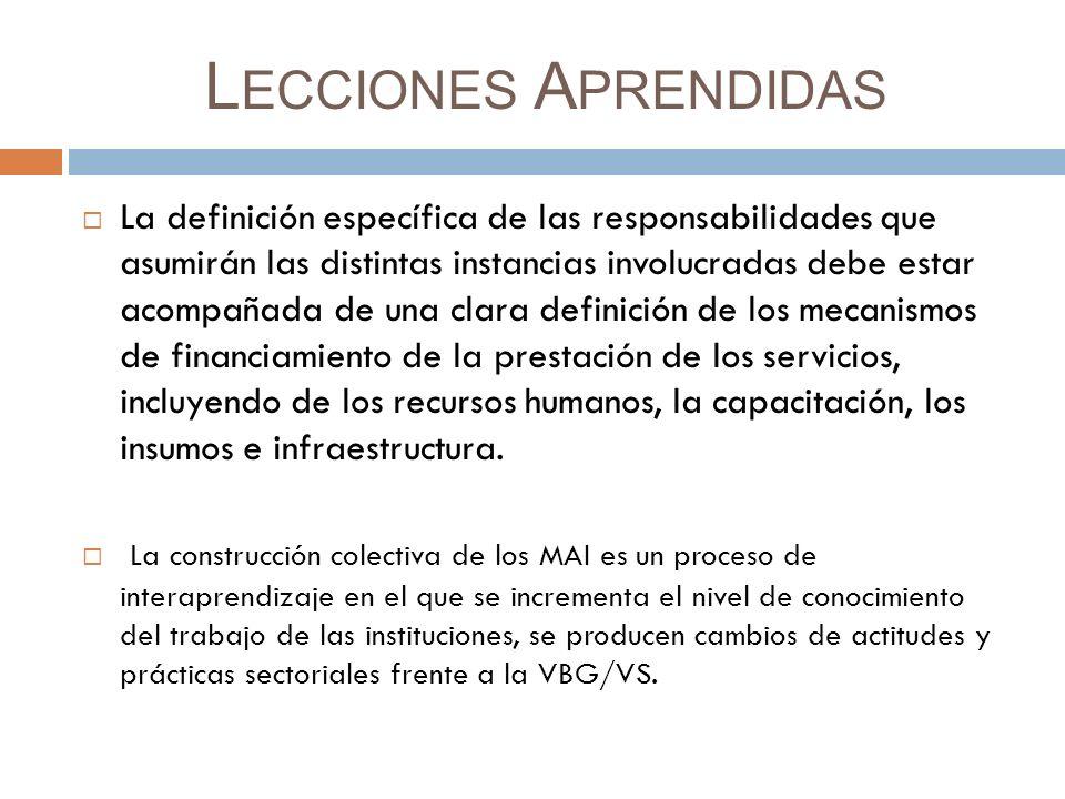 L ECCIONES A PRENDIDAS La definición específica de las responsabilidades que asumirán las distintas instancias involucradas debe estar acompañada de una clara definición de los mecanismos de financiamiento de la prestación de los servicios, incluyendo de los recursos humanos, la capacitación, los insumos e infraestructura.