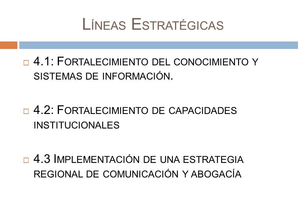 L ÍNEAS E STRATÉGICAS 4.1: F ORTALECIMIENTO DEL CONOCIMIENTO Y SISTEMAS DE INFORMACIÓN. 4.2: F ORTALECIMIENTO DE CAPACIDADES INSTITUCIONALES 4.3 I MPL