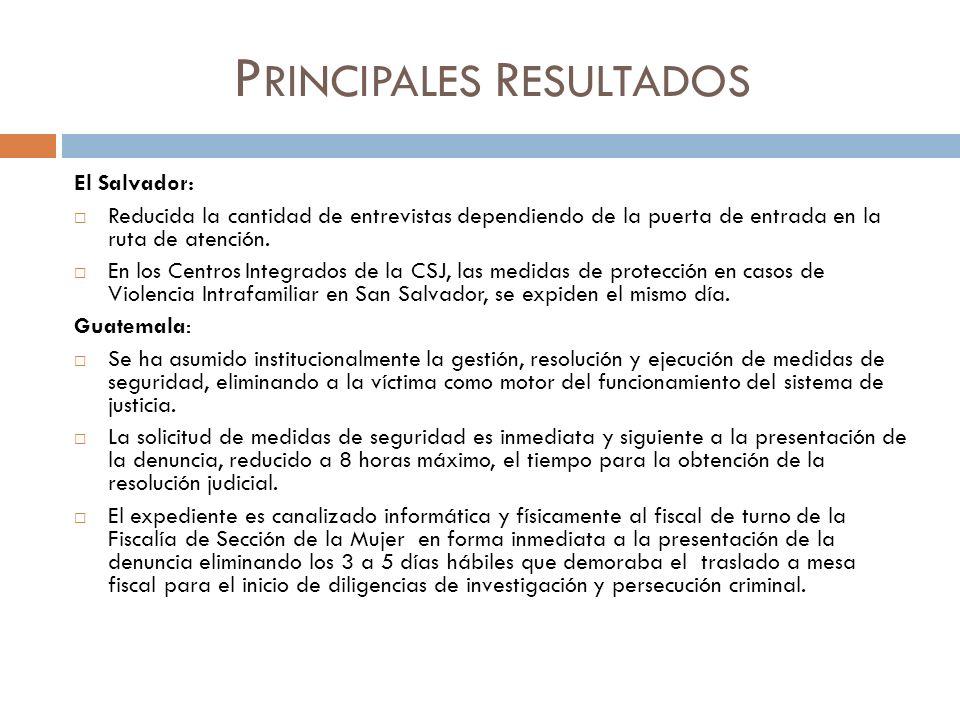 P RINCIPALES R ESULTADOS El Salvador: Reducida la cantidad de entrevistas dependiendo de la puerta de entrada en la ruta de atención. En los Centros I