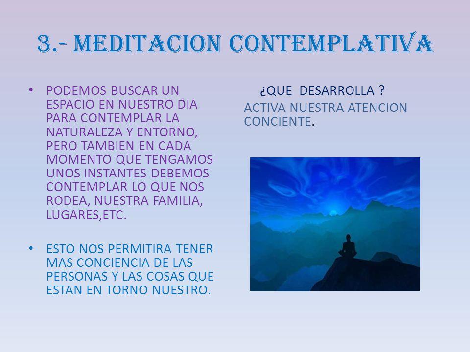 3.- MEDITACION CONTEMPLATIVA PODEMOS BUSCAR UN ESPACIO EN NUESTRO DIA PARA CONTEMPLAR LA NATURALEZA Y ENTORNO, PERO TAMBIEN EN CADA MOMENTO QUE TENGAM
