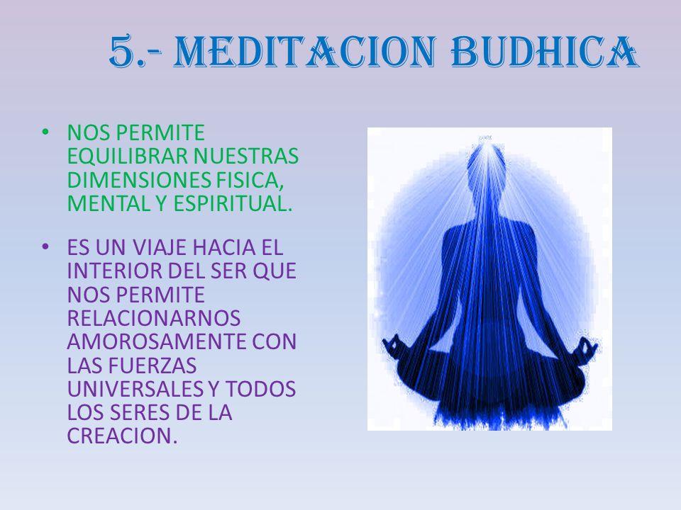 5.- MEDITACION BUDHICA NOS PERMITE EQUILIBRAR NUESTRAS DIMENSIONES FISICA, MENTAL Y ESPIRITUAL. ES UN VIAJE HACIA EL INTERIOR DEL SER QUE NOS PERMITE