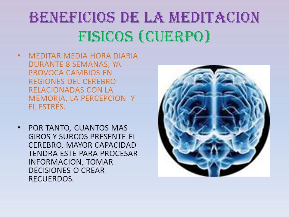 BENEFICIOS DE LA MEDITACION FISICOS (CUERPO) MEDITAR MEDIA HORA DIARIA DURANTE 8 SEMANAS, YA PROVOCA CAMBIOS EN REGIONES DEL CEREBRO RELACIONADAS CON