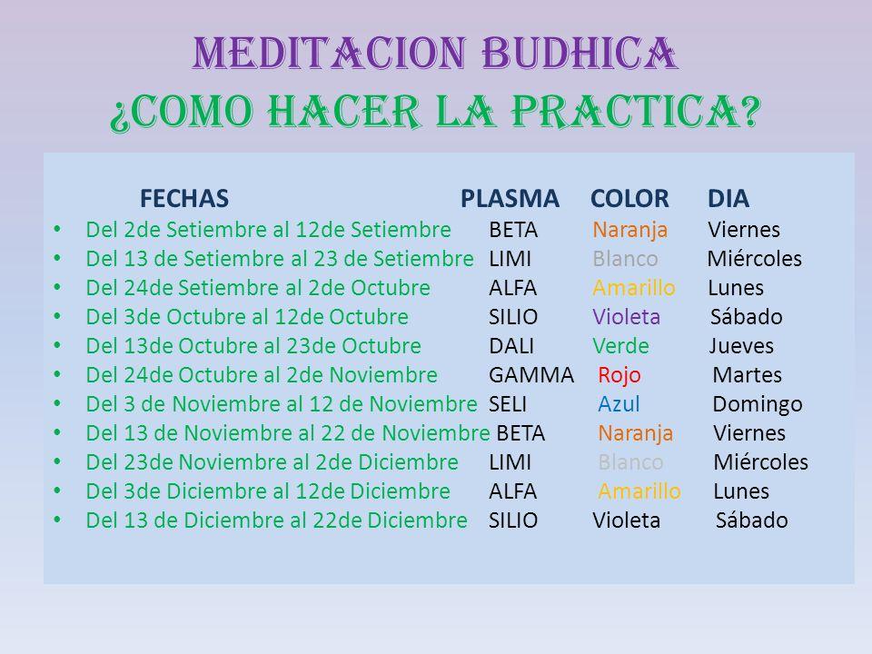 MEDITACION BUDHICA ¿COMO HACER LA PRACTICA? FECHAS PLASMA COLOR DIA Del 2de Setiembre al 12de SetiembreBETA Naranja Viernes Del 13 de Setiembre al 23