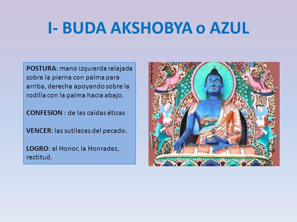 I- BUDA AKSHOBYA o AZUL POSTURA: mano izquierda relajada sobre la pierna con palma para arriba, derecha apoyando sobre la rodilla con la palma hacia a