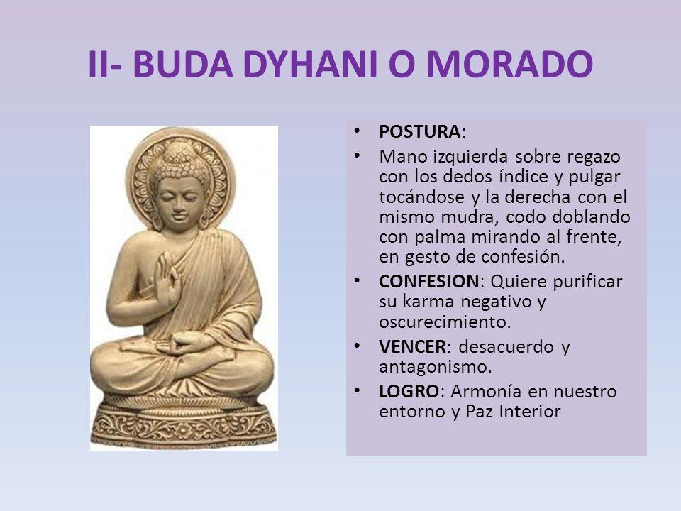 II- BUDA DYHANI O MORADO POSTURA: Mano izquierda sobre regazo con los dedos índice y pulgar tocándose y la derecha con el mismo mudra, codo doblando c