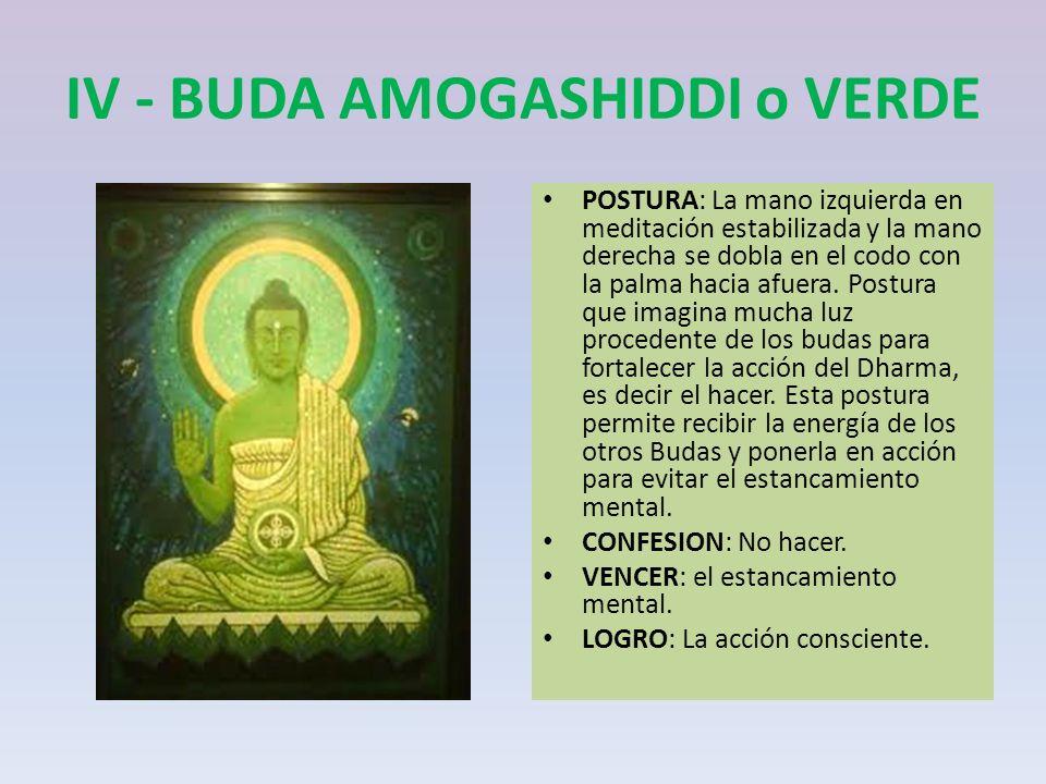IV - BUDA AMOGASHIDDI o VERDE POSTURA: La mano izquierda en meditación estabilizada y la mano derecha se dobla en el codo con la palma hacia afuera. P