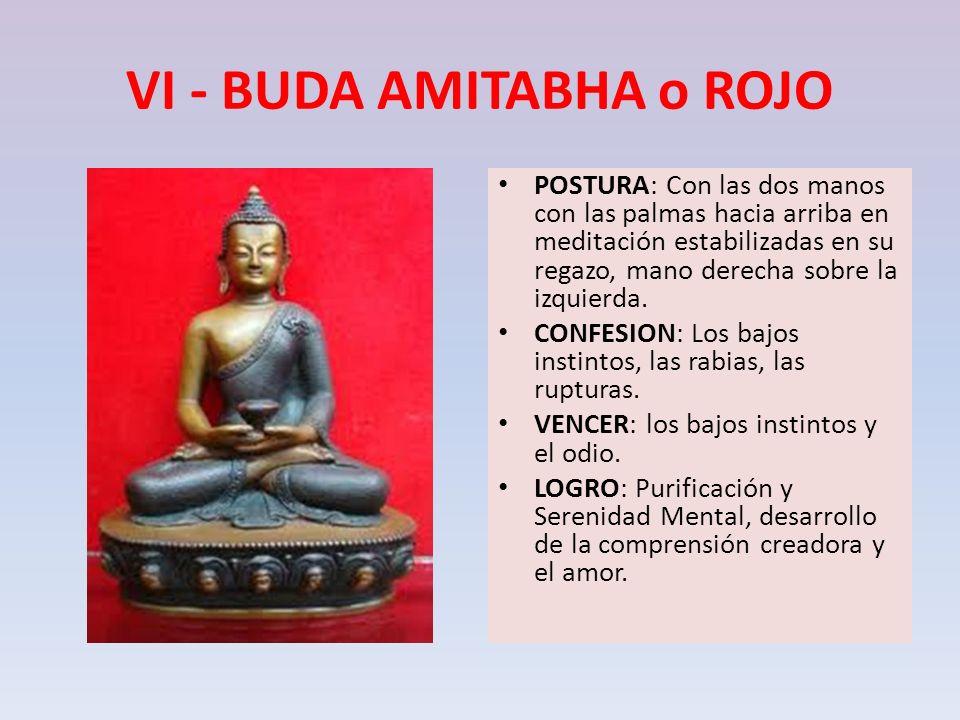 VI - BUDA AMITABHA o ROJO POSTURA: Con las dos manos con las palmas hacia arriba en meditación estabilizadas en su regazo, mano derecha sobre la izqui