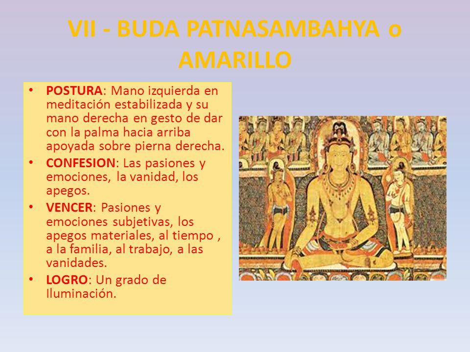VII - BUDA PATNASAMBAHYA o AMARILLO POSTURA: Mano izquierda en meditación estabilizada y su mano derecha en gesto de dar con la palma hacia arriba apo