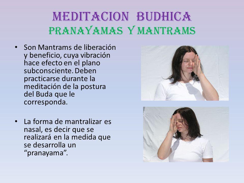 MEDITACION BUDHICA PRANAYAMAS Y MANTRAMS Son Mantrams de liberación y beneficio, cuya vibración hace efecto en el plano subconsciente. Deben practicar