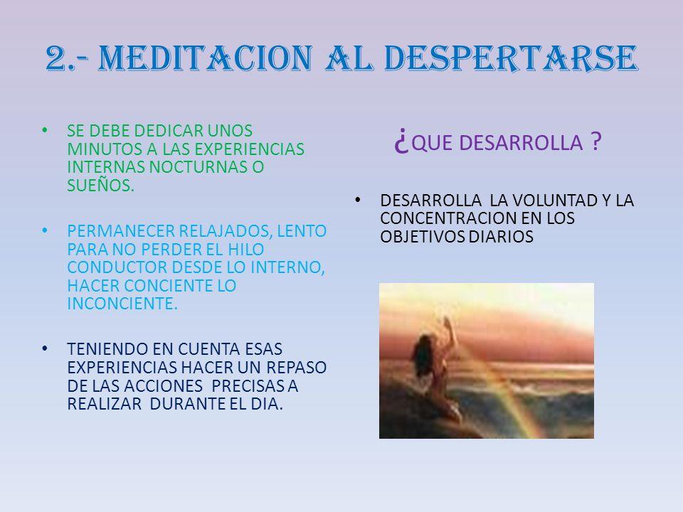 2.- MEDITACION AL DESPERTARSE SE DEBE DEDICAR UNOS MINUTOS A LAS EXPERIENCIAS INTERNAS NOCTURNAS O SUEÑOS. PERMANECER RELAJADOS, LENTO PARA NO PERDER