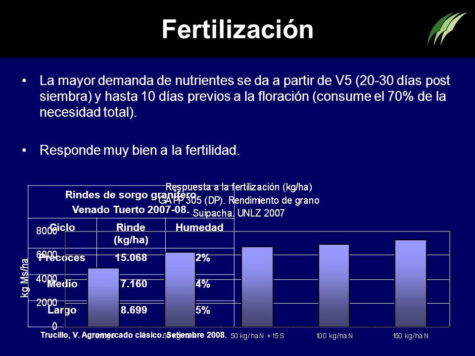 Fertilización La mayor demanda de nutrientes se da a partir de V5 (20-30 días post siembra) y hasta 10 días previos a la floración (consume el 70% de