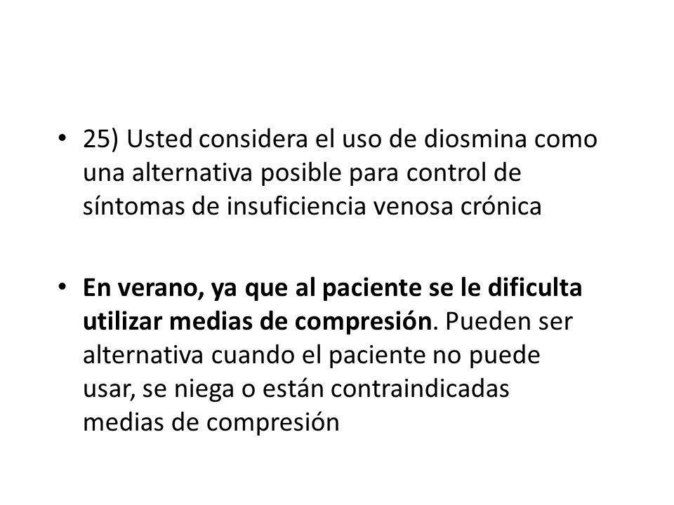 25) Usted considera el uso de diosmina como una alternativa posible para control de síntomas de insuficiencia venosa crónica En verano, ya que al paci