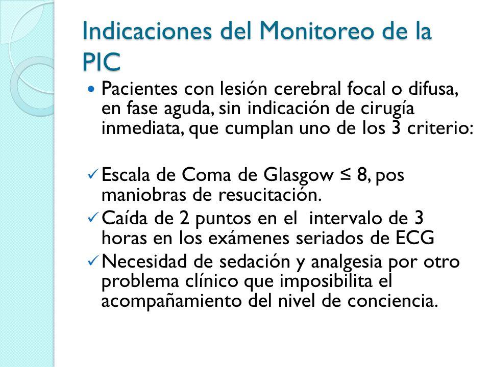 Indicaciones del Monitoreo de la PIC Pacientes con lesión cerebral focal o difusa, en fase aguda, sin indicación de cirugía inmediata, que cumplan uno