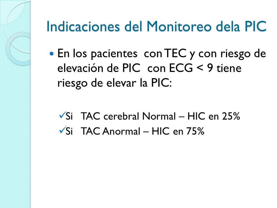 Indicaciones del Monitoreo dela PIC En los pacientes con TEC y con riesgo de elevación de PIC con ECG < 9 tiene riesgo de elevar la PIC: Si TAC cerebr