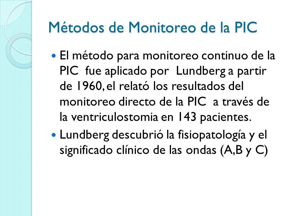 Métodos de Monitoreo de la PIC El método para monitoreo continuo de la PIC fue aplicado por Lundberg a partir de 1960, el relató los resultados del mo