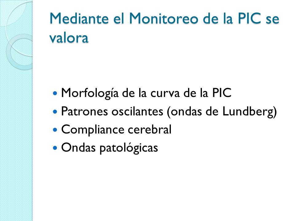 Mediante el Monitoreo de la PIC se valora Morfología de la curva de la PIC Patrones oscilantes (ondas de Lundberg) Compliance cerebral Ondas patológic