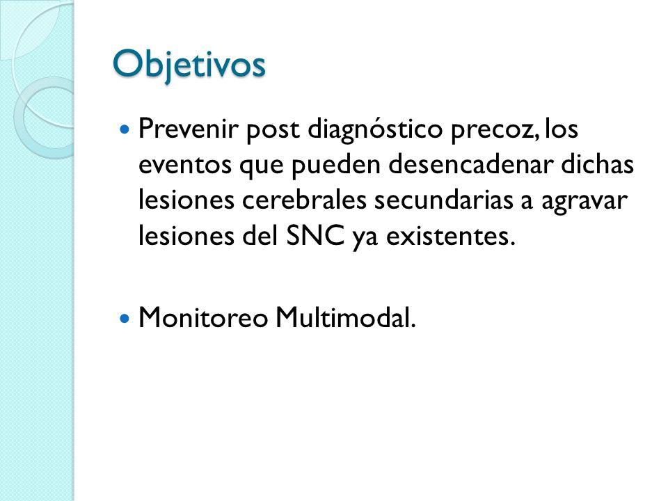 Objetivos Prevenir post diagnóstico precoz, los eventos que pueden desencadenar dichas lesiones cerebrales secundarias a agravar lesiones del SNC ya e