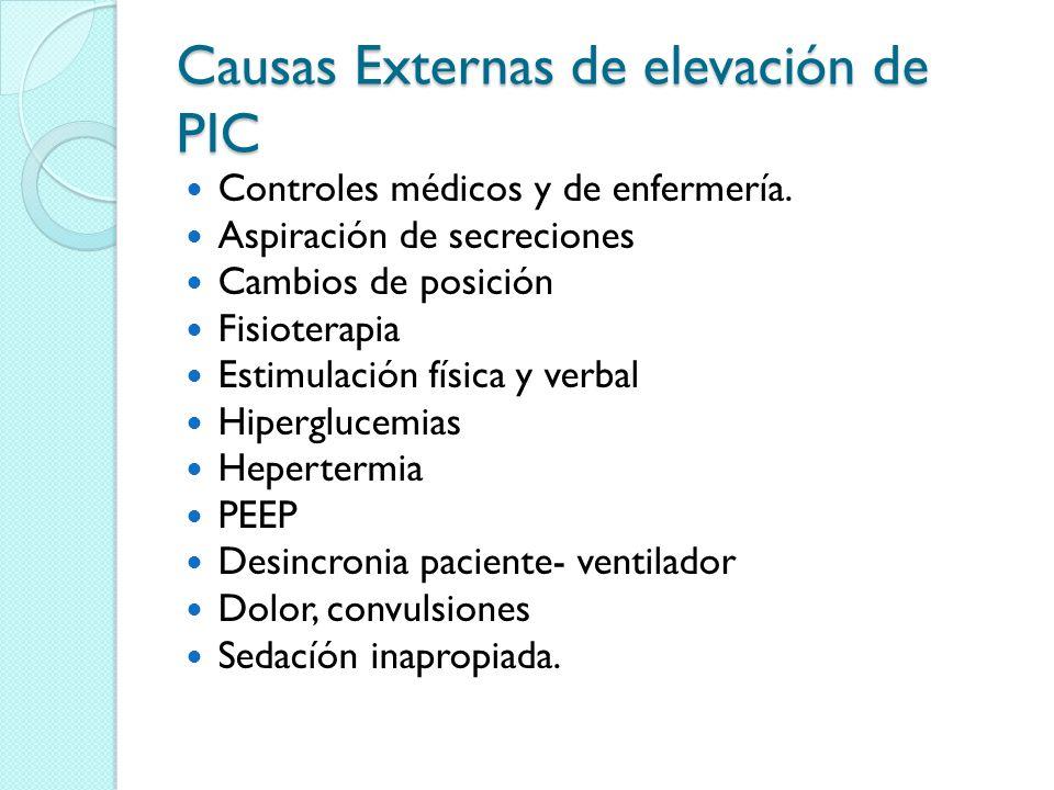 Causas Externas de elevación de PIC Controles médicos y de enfermería. Aspiración de secreciones Cambios de posición Fisioterapia Estimulación física