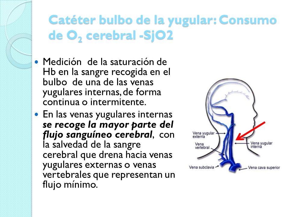 Catéter bulbo de la yugular: Consumo de O 2 cerebral -SjO2 Medición de la saturación de Hb en la sangre recogida en el bulbo de una de las venas yugul