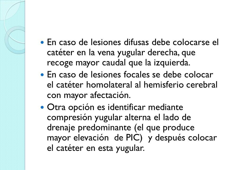En caso de lesiones difusas debe colocarse el catéter en la vena yugular derecha, que recoge mayor caudal que la izquierda. En caso de lesiones focale