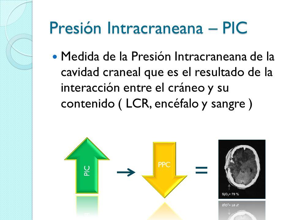 PIC Es una variable del monitoreo neurológico intensivo especializado a ser observada en el paciente grave que tenga: Riesgo de elevación de PIC Sospecha de la elevación de la PIC Diagnóstico de HIC