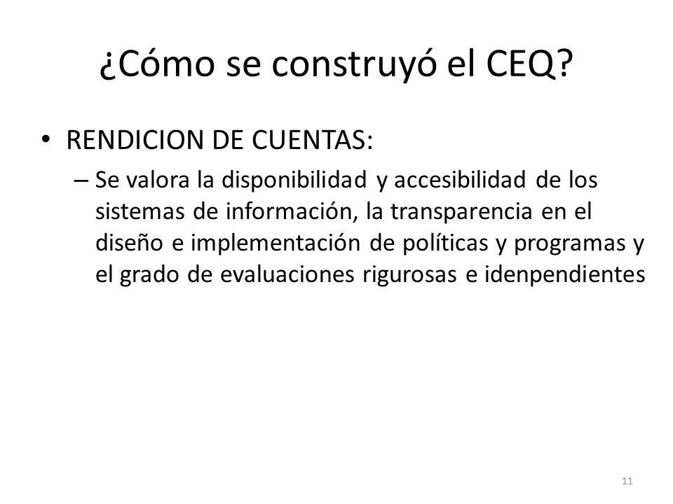 ¿Cómo se construyó el CEQ? RENDICION DE CUENTAS: – Se valora la disponibilidad y accesibilidad de los sistemas de información, la transparencia en el